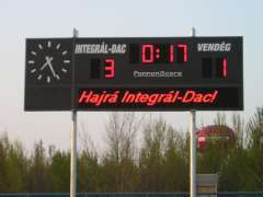 Soccer scoreboard with moving message